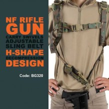 NF RIFLE GUN CARRY SWIVELS ADJUSTABLE SLING BELT  H-SHAPE DECOMPRESSION DESIGN - BG320