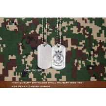 High Quality Stainless Stell Military Dog tag - KOR PERKHIDMATAN DIRAJA, EPOXY COVER - TAG150D
