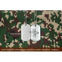 High Quality Stainless Stell Military Dog tag - PASKAL, EPOXY COVER - TAG165D