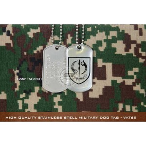 High Quality Stainless Stell Military Dog tag - VAT69, EPOXY COVER - TAG169D