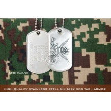 High Quality Stainless Stell Military Dog tag - ARMOR, EPOXY COVER - TAG170D