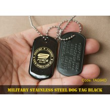 MILITARY STAINLESS STEEL DOG TAG BLACK-NIGHT FORCE - TAG94D