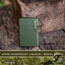 ZIPPO WINDPROOF LIGHTER, Green Matte