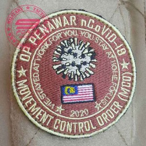 MCO Military Patch, velcro back. Movement Control Operation Convid-19 Military Patch Malaysia