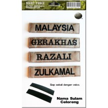 Name Tag No.5 (Nama Sulam) with velcro, Military spec