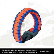 PARACORD SURVIVAL BRACELET + ITW WHISTLE BUCKLE(PR200)