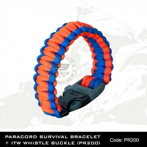PARACORD SURVIVAL BRACELET + ITW WHISTLE BUCKLE(PR200)