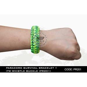 PARACORD SURVIVAL BRACELET + ITW WHISTLE BUCKLE(PR201)