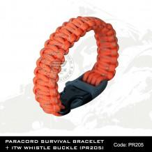 PARACORD SURVIVAL BRACELET + ITW WHISTLE BUCKLE(PR205)