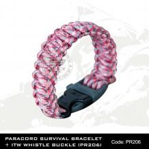 PARACORD SURVIVAL BRACELET + ITW WHISTLE BUCKLE(PR206)