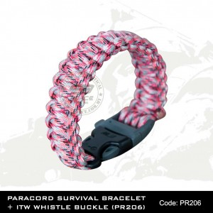 PARACORD SURVIVAL BRACELET + ITW WHISTLE BUCKLE(PR206)