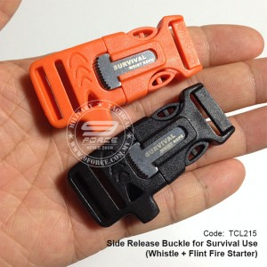 SURVIVAL USE SIDE RELEASE BUCKLE WHISTLE + FLINT FIRE STATER (TCL215)