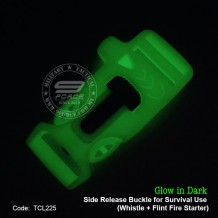 Glow in Dark, Side Release Buckle for Survival Use, Whistle + Flint Fire Starter (TCL225)