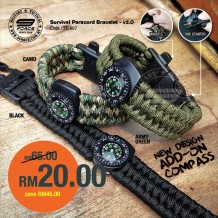 550 PARACORD SOS BRACELET, WHISTLE, FIRE STARTER, COMPASS. PR807