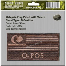 "Malaysia flag blood type combat patch, come with velcro, 2 tones, Desert brown, ""O-POS"" - PATCH8104"