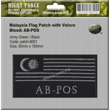 "Malaysia flag blood type combat patch, come with velcro, 2 tones, fiolate green, ""AB-POS"" - PATCH8001"