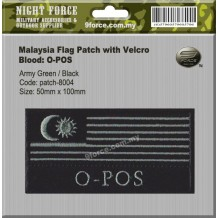 "Malaysia flag blood type combat patch, come with velcro, 2 tones, Fiolate green, ""O-POS"" - PATCH8004"