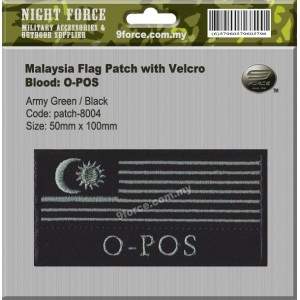 MILITARY MALAYSIA FLAG PATCH (WORDING: O-POS) - PATCH8004