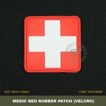 TACTICAL MEDICAL RUBBER PATCH, RED, COME WITH VELCRO. PATCH9000
