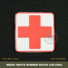 MEDICAL TACTICAL RUBBER PATCH, WHITE, COME WITH VELCRO. PATCH9001