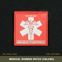 MEDICAL TREATMENT TACTICAL RUBBER PATCH, RED, COME WITH VELCRO. PATCH9002