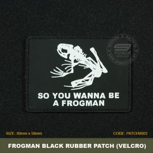 FROGMAN TACTICAL RUBBER PATCH, BLACK, COME WITH VELCRO. PATCH9003