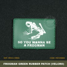 FROGMAN TACTICAL RUBBER PATCH, GREEN, COME WITH VELCRO. PATCH9004
