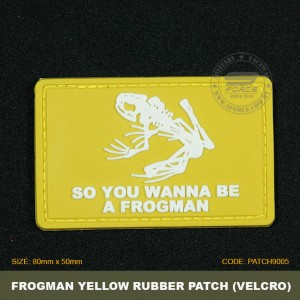 FROGMAN TACTICAL RUBBER PATCH, YELLOW, COME WITH VELCRO. PATCH9005