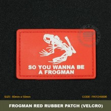 FROGMAN TACTICAL RUBBER PATCH, RED, COME WITH VELCRO. PATCH9006