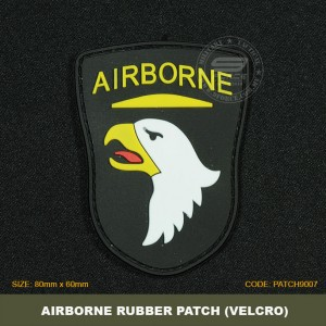 AIRBORNE TACTICAL RUBBER PATCH, BLACK, COME WITH VELCRO. PATCH9007