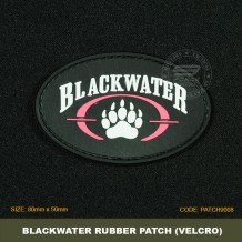 BLACKWATER TACTICAL RUBBER PATCH, BLACK, COME WITH VELCRO. PATCH9008
