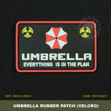 UMBRELLA TACTICAL RUBBER PATCH, BLACK, COME WITH VELCRO. PATCH9011