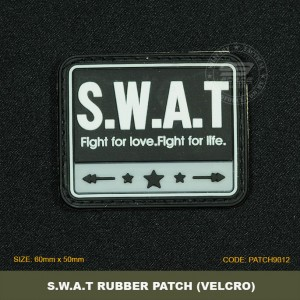 S.W.A.T TACTICAL RUBBER PATCH, BLACK, COME WITH VELCRO. PATCH9012