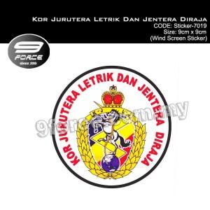 Sticker Car Wind Screen Kor Jurutera Letrik Dan Jentera Diraja - sticker7019
