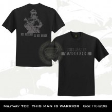 MILITARY TEE THIS MAN IS WARRIOR (BLACK)-5209G