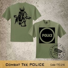 MILITARY TEE POLICE, OD GREEN, TTC216 (FREE Shipping offer)