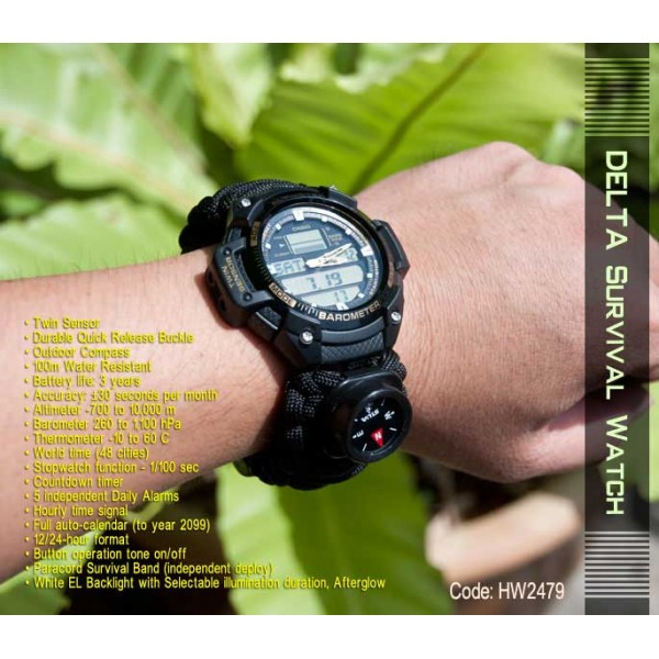 Delta Survival Watch Twin Sensor Paracord Band Compass