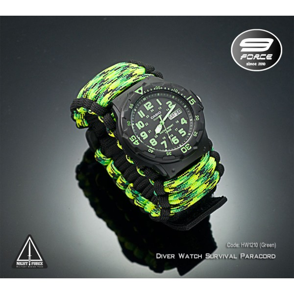 Diver Watch Survival Paracord (Analog, date, day)