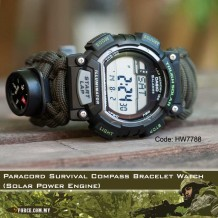 Paracord Survival Compass Bracelet Watch (Solar Power Engine)-7788