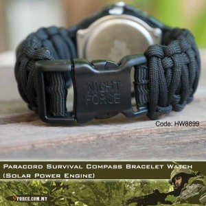 Paracord Survival Compass Bracelet Watch (Solar Power Engine)