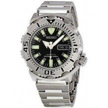 Seiko Black Monster Automatic Dive Watch, Stainless Steel Bracelet
