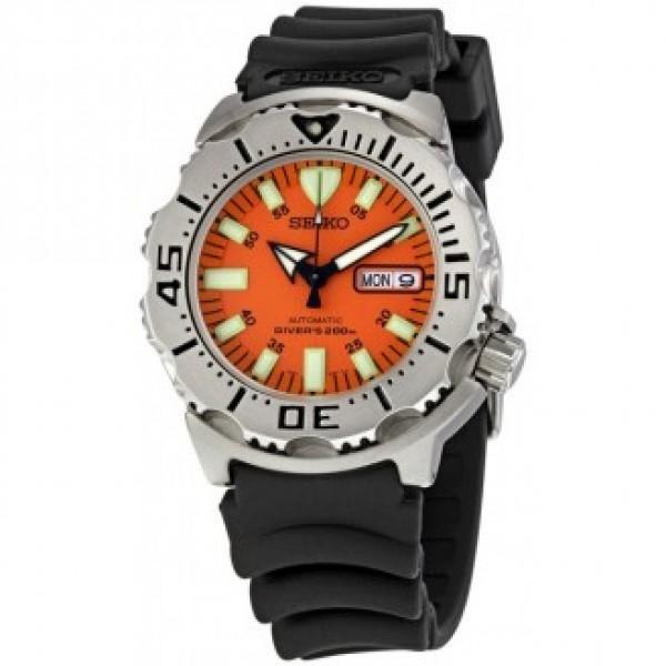 Seiko orange 39 monster 39 automatic dive watch with rubber dive strap - Orange dive watch ...