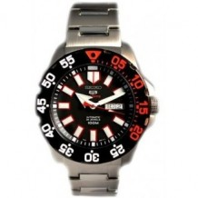 Seiko Sports 5 Monster Black and Red Face Stainless Steel Bracelet