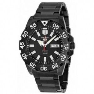 SEIKO 5 SPORTS MONSTER AUTO BLACK FACE ION GUNMETAL STAINLESS STEEL