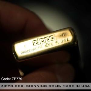 ZIPPO GGK, SHINNING GOLD, MADE IN USA