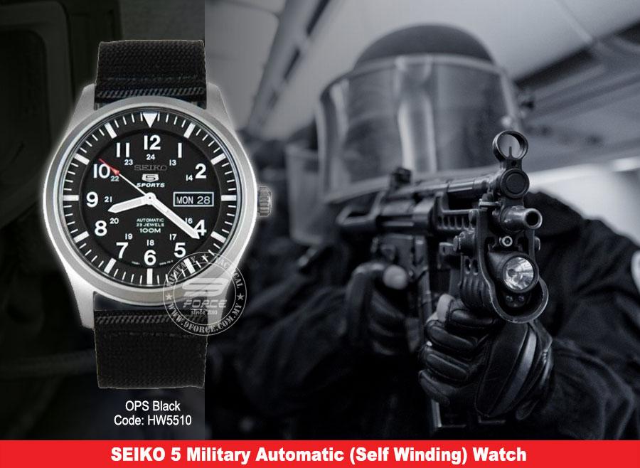 seiko 5 military watch automatic self winding hw5510